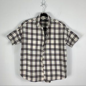 Madewell Courier Shirt Plaid Blue & Cream Size XXS